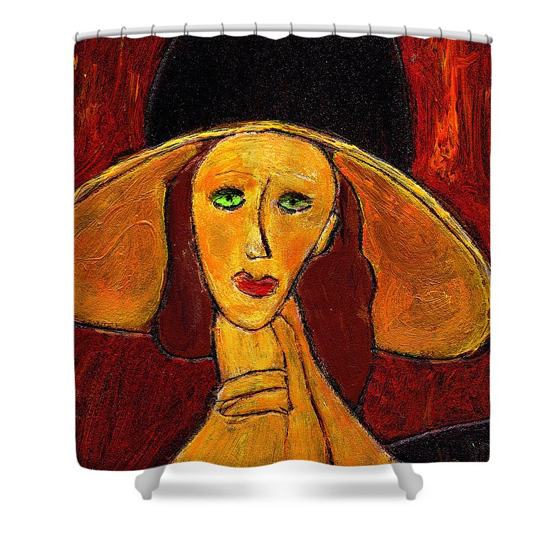 Hat Shower Curtain featuring the painting Green Eyes by Wayne Potrafka