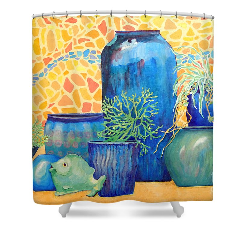 Wildlife Shower Curtain featuring the painting Green Fish And Friends by Sharon Nelson-Bianco