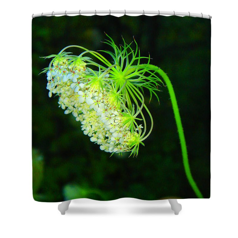 Green Shower Curtain featuring the photograph Green Flower by Marko Mitic