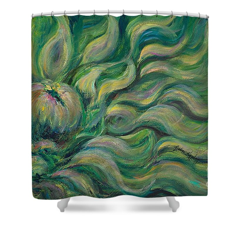 Green Shower Curtain featuring the painting Green Flowing Flower by Nadine Rippelmeyer
