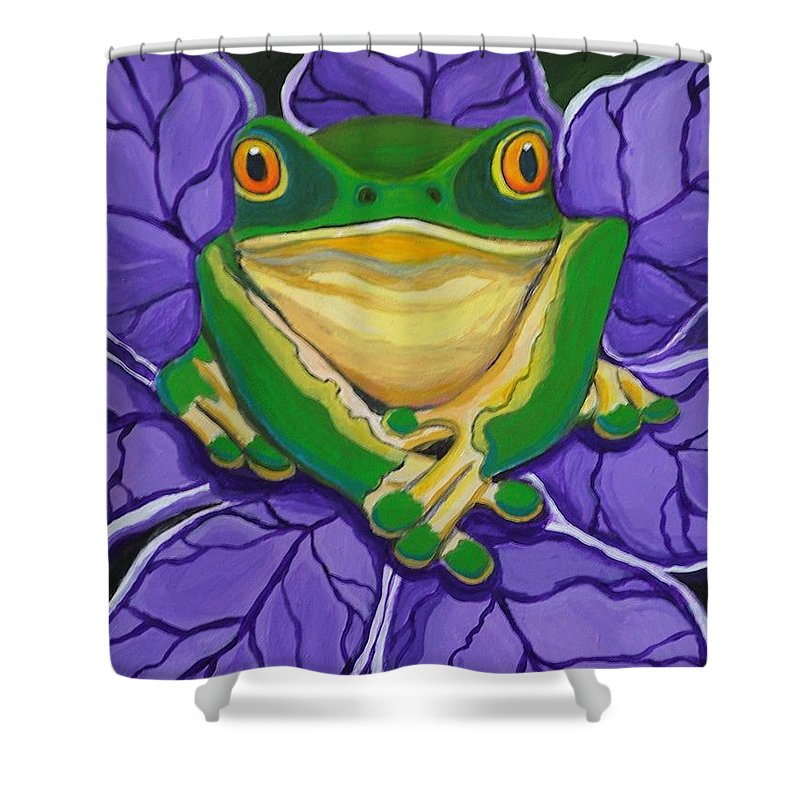 Frog Painting Shower Curtain featuring the painting Green Frog by Nick Gustafson
