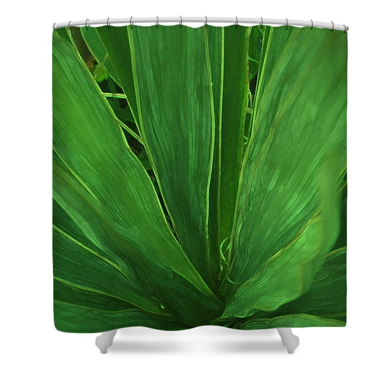 Green Plant Shower Curtain featuring the photograph Green Glow by Linda Sannuti
