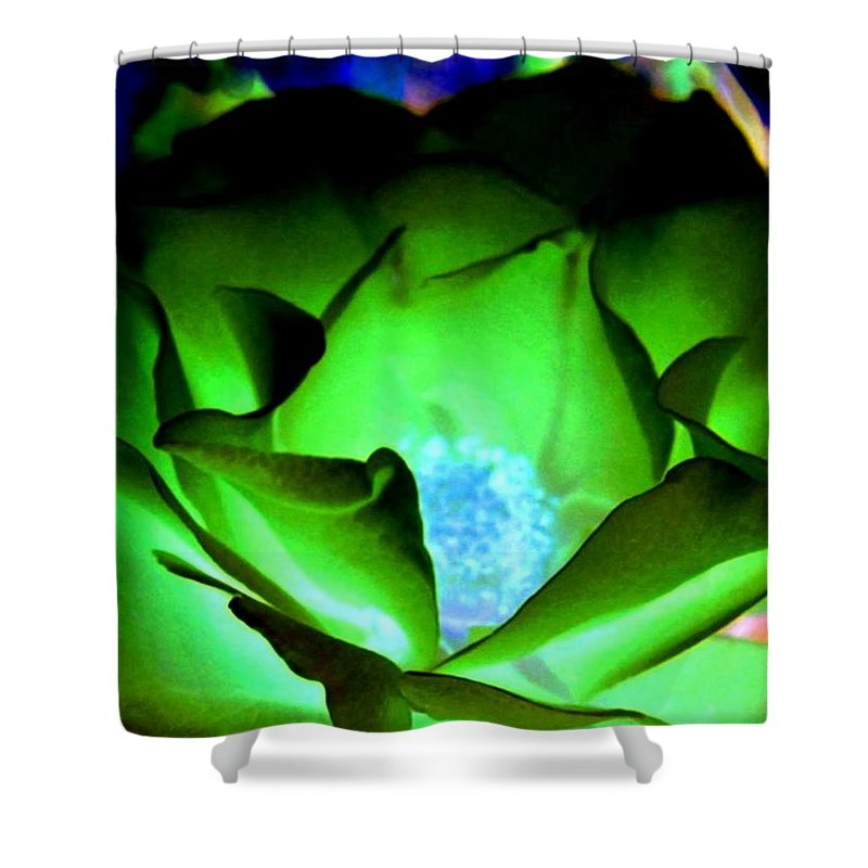 Rose Shower Curtain featuring the digital art Green Glow by Will Borden