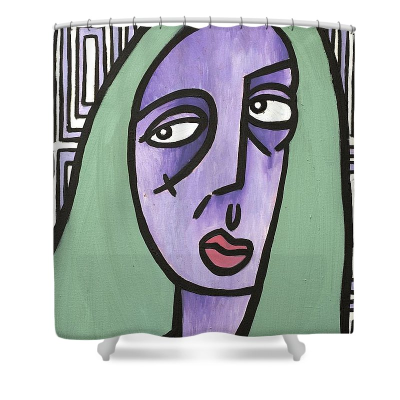 Clay Shower Curtain featuring the painting Green Hair by Thomas Valentine