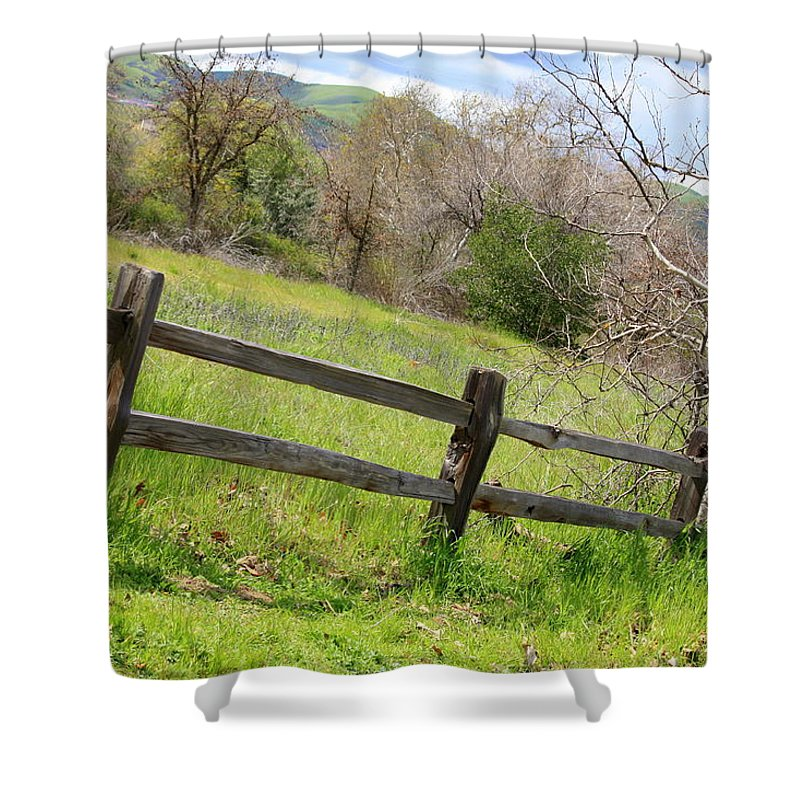 Landscape Shower Curtain featuring the photograph Green Hills And Rustic Fence by Carol Groenen