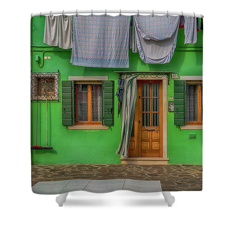 Burano Shower Curtain featuring the photograph Green House And Hanging Wash_dsc5111_03042017 by Greg Kluempers