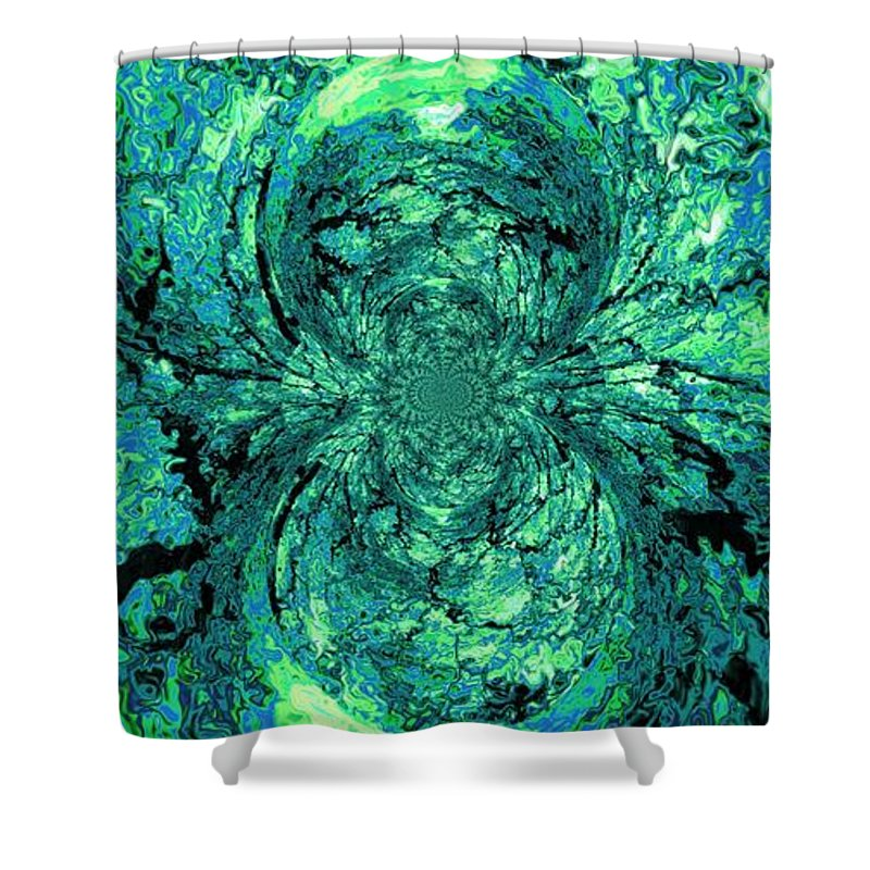 Green Shower Curtain featuring the digital art Green Irrevelance by Charleen Treasures