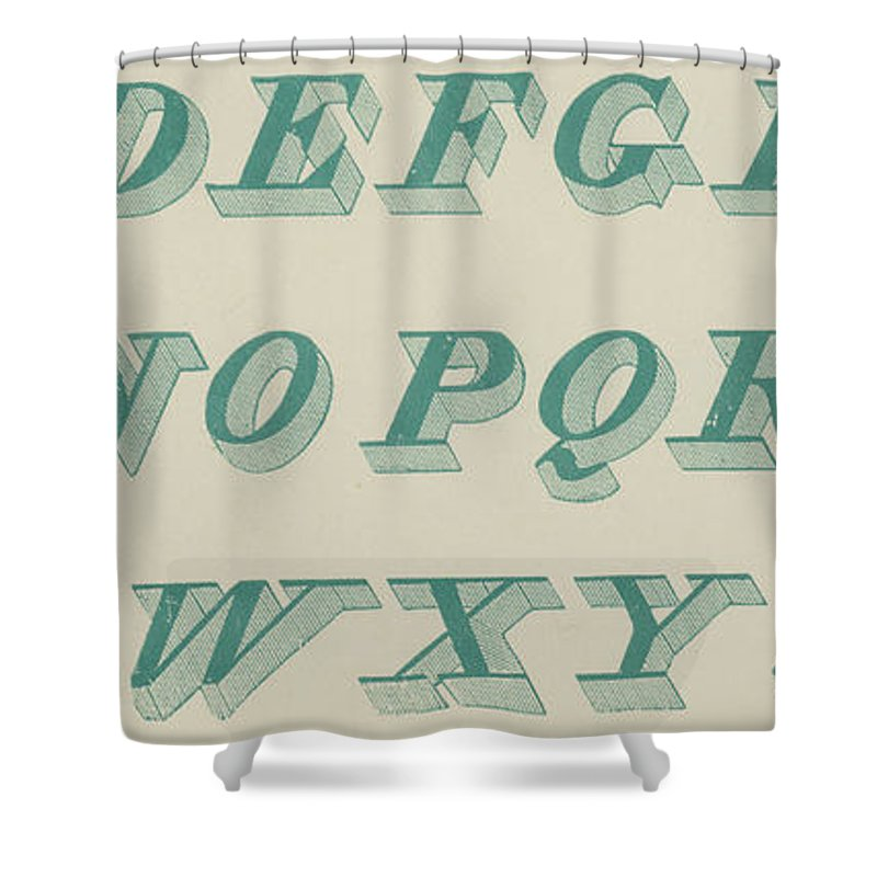 Green Shower Curtain featuring the drawing Green Italic Font by English School