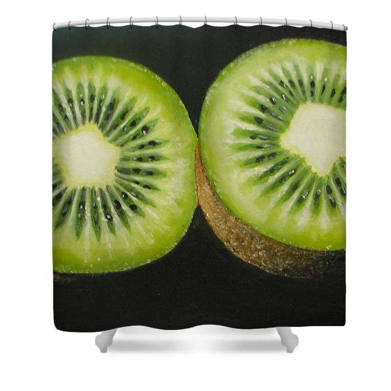 Kiwi Shower Curtain featuring the painting Green Kiwi Oil Painting by Natalja Picugina