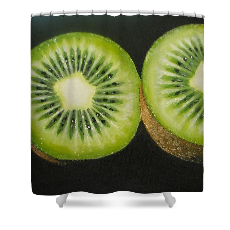Abstract Shower Curtain featuring the painting Green kiwi oil painting by Natalja Picugina