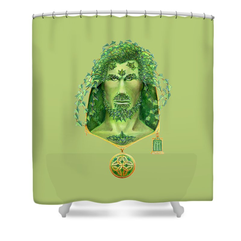 Green Man Shower Curtain featuring the painting Ivy Green Man by Melissa A Benson