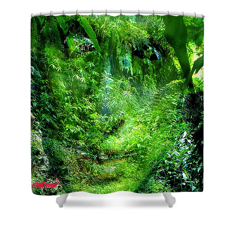 Nature Shower Curtain featuring the digital art Green Man by Seth Weaver