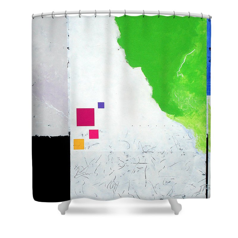 Abstract Shower Curtain featuring the painting Green Movement by Jean Pierre Rousselet