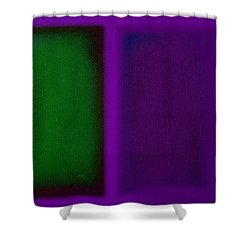 Rothko Shower Curtain featuring the painting Green On Magenta by Charles Stuart