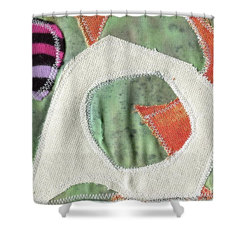 Green Orange Abstract 2 - Contemporary Art - Stitched Landscape - Abstract Embroidery - Elizabethafox Shower Curtain featuring the tapestry - textile Green Orange Abstract 2 by Elizabetha Fox