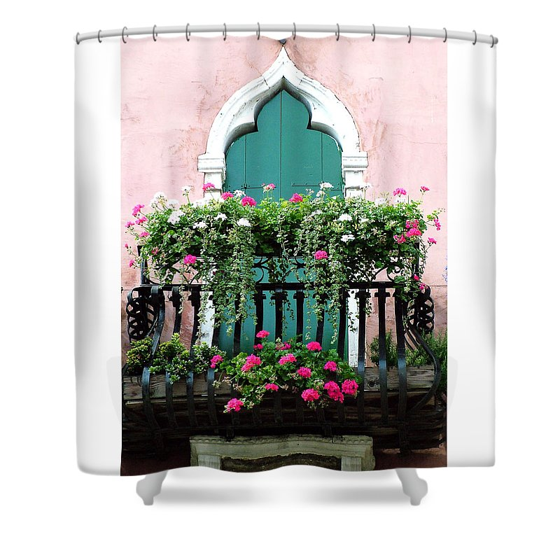 Green Shower Curtain featuring the photograph Green Ornate Door With Geraniums by Donna Corless