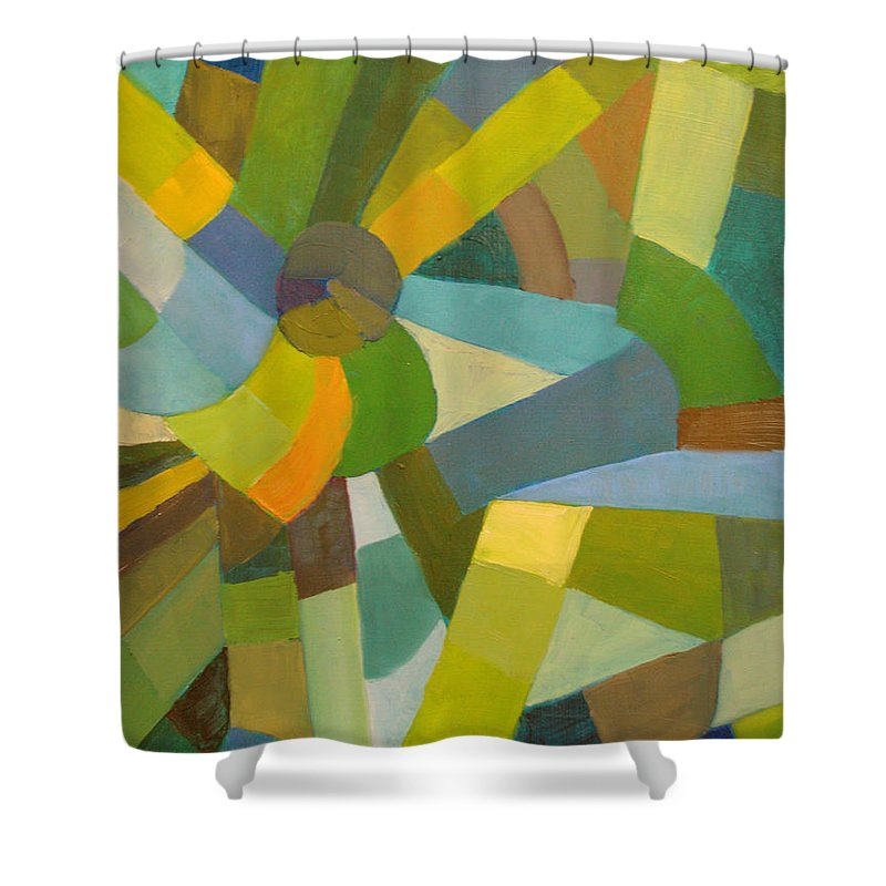 Green Shower Curtain featuring the painting Green Pallette by Art Nomad Sandra Hansen