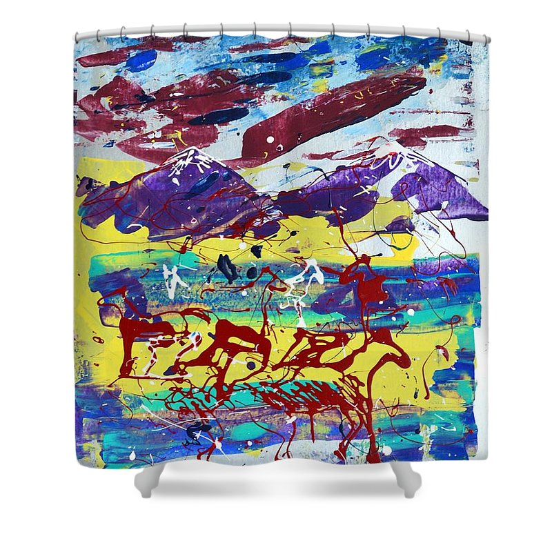 Horses Grazing Shower Curtain featuring the painting Green Pastures And Purple Mountains by J R Seymour