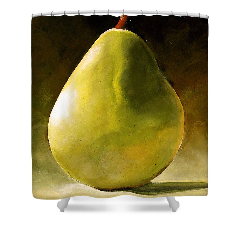 Green Shower Curtain featuring the painting Green Pear by Toni Grote