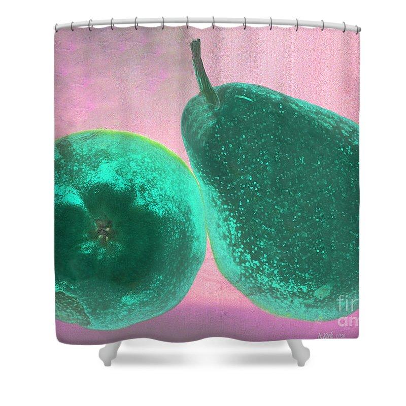 Pear Pair Pink Green Stem Skin Tilt Shower Curtain featuring the photograph Green Pears On Pink by Heather Kirk
