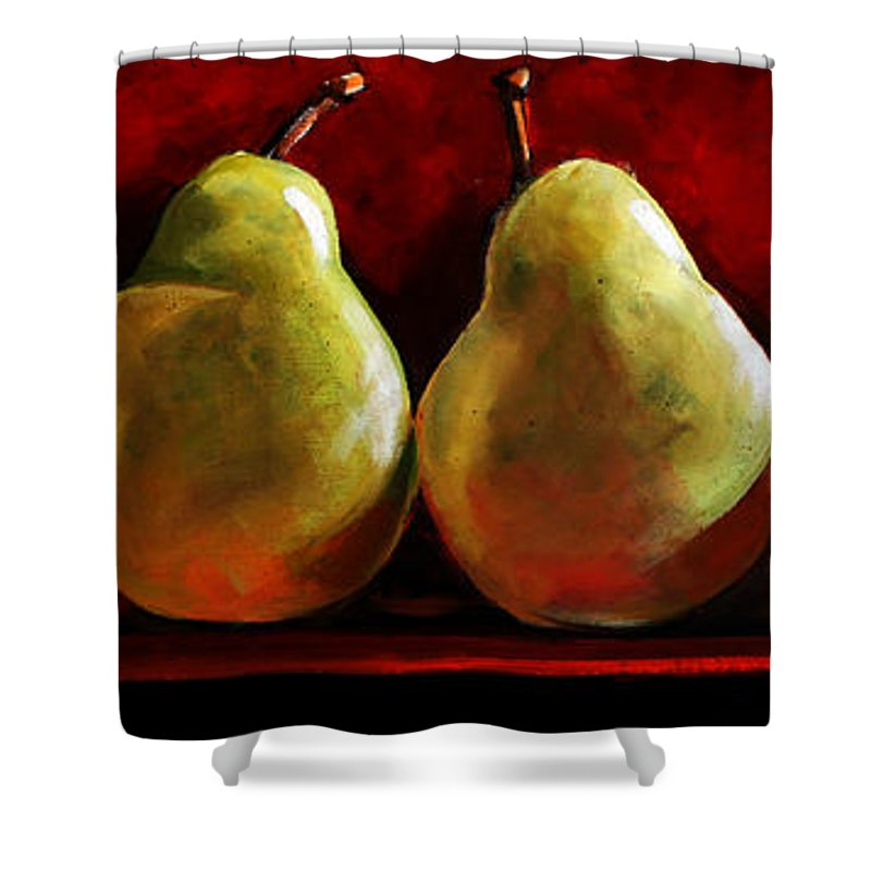 Pears Shower Curtain featuring the painting Green Pears On Red by Toni Grote