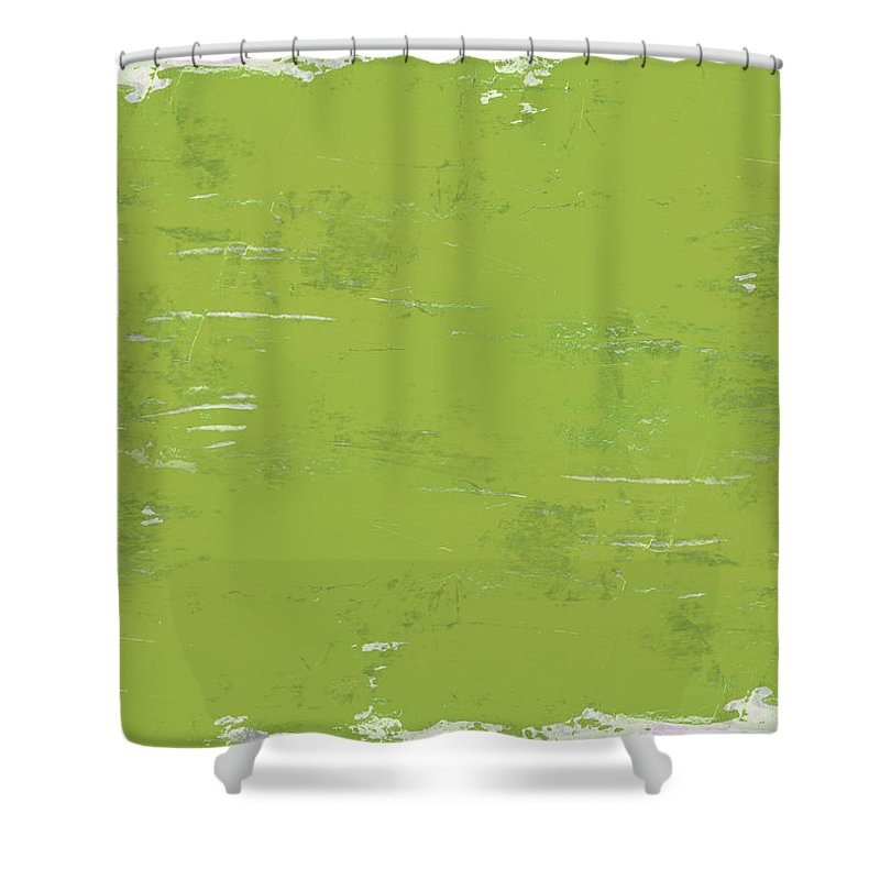 Abstract Shower Curtain featuring the painting Green Punch by Tonya Doughty