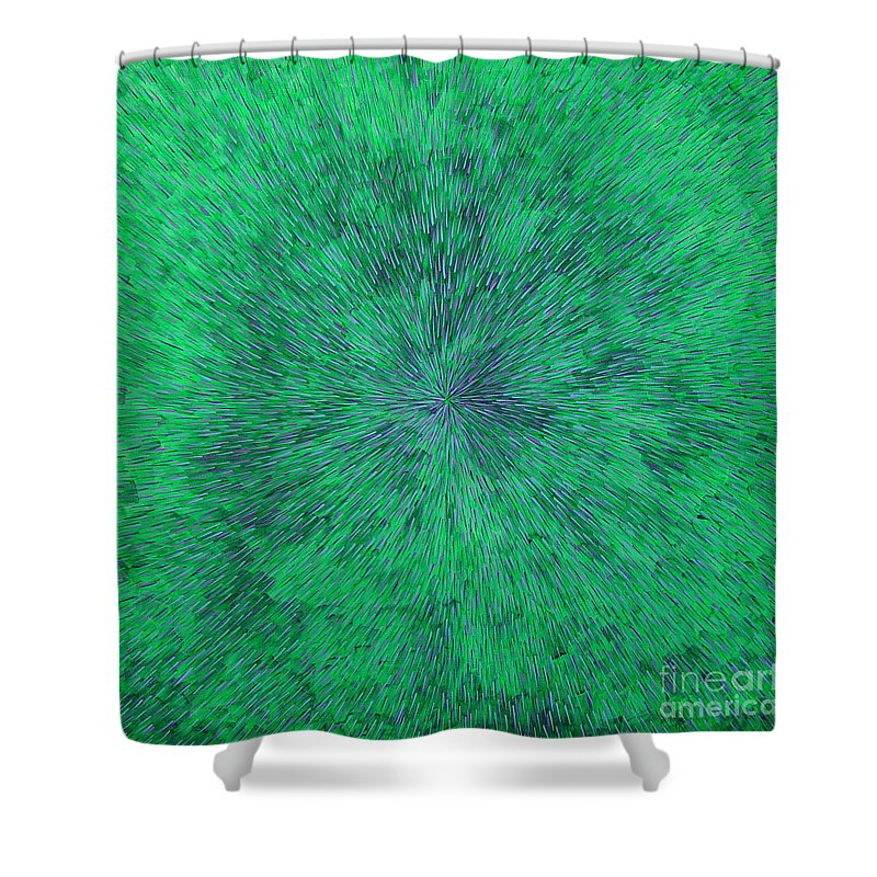 Abstract Shower Curtain featuring the painting Green Radation With Violet by Dean Triolo