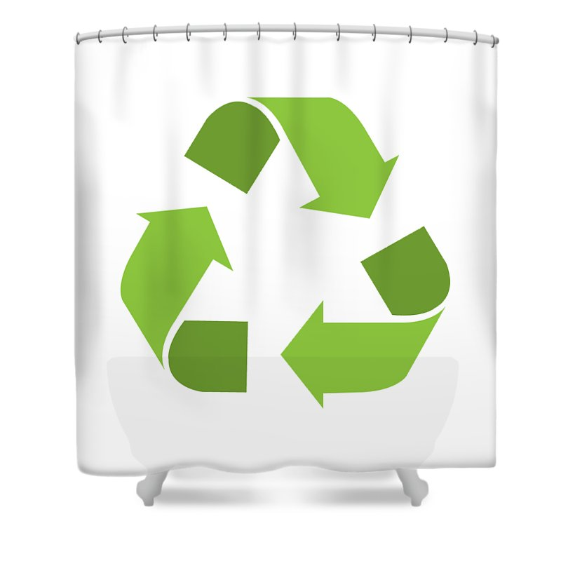Green Recycle Symbol Shower Curtain Featuring The Digital Art Reduce Reuse