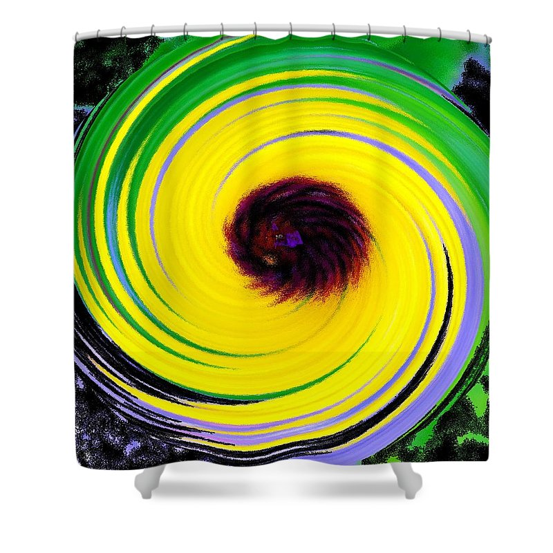 Abstract Shower Curtain featuring the digital art Green Rush by Ian MacDonald
