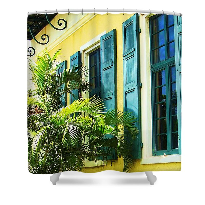 Architecture Shower Curtain featuring the photograph Green Shutters by Debbi Granruth