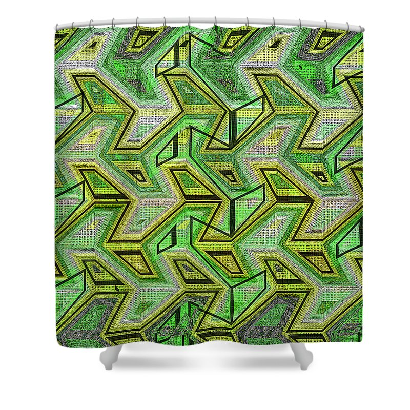 Green Steps Abstract Shower Curtain featuring the digital art Green Steps Abstract by Tom Janca