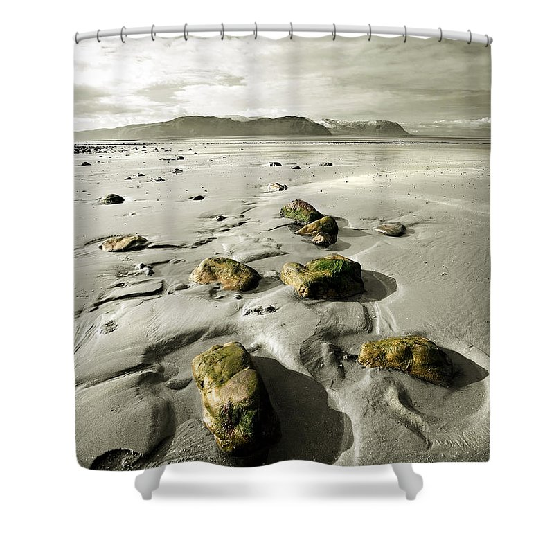 Beach Shower Curtain featuring the photograph Green Stones On A North Wales Beach by Mal Bray