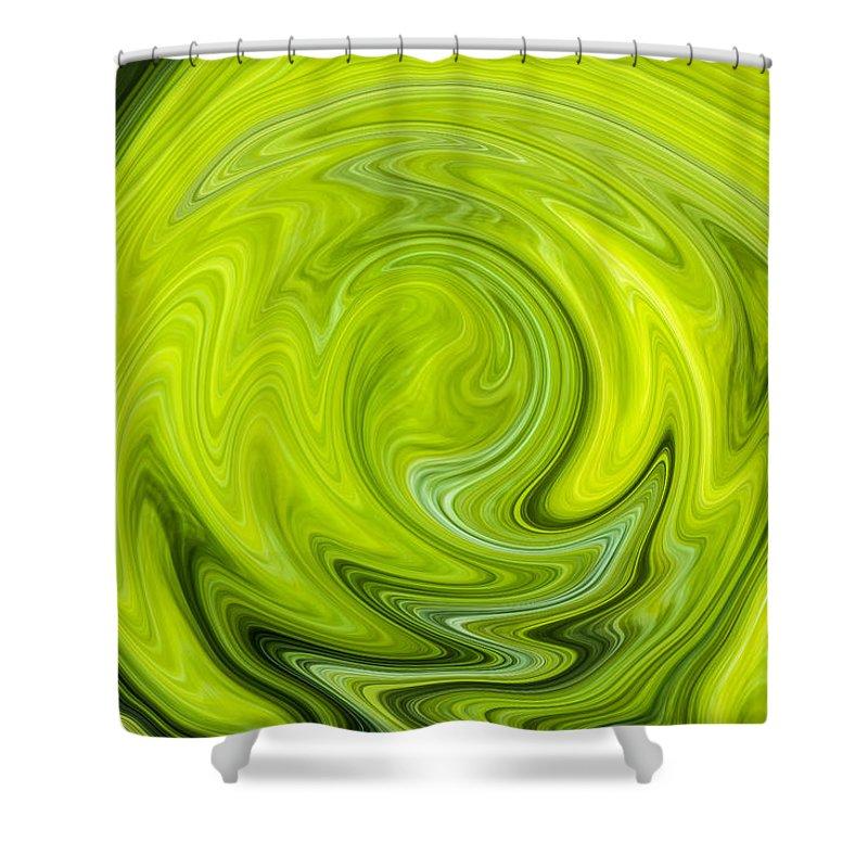 Green Shower Curtain featuring the digital art Green Swirl by Nielda Sanford
