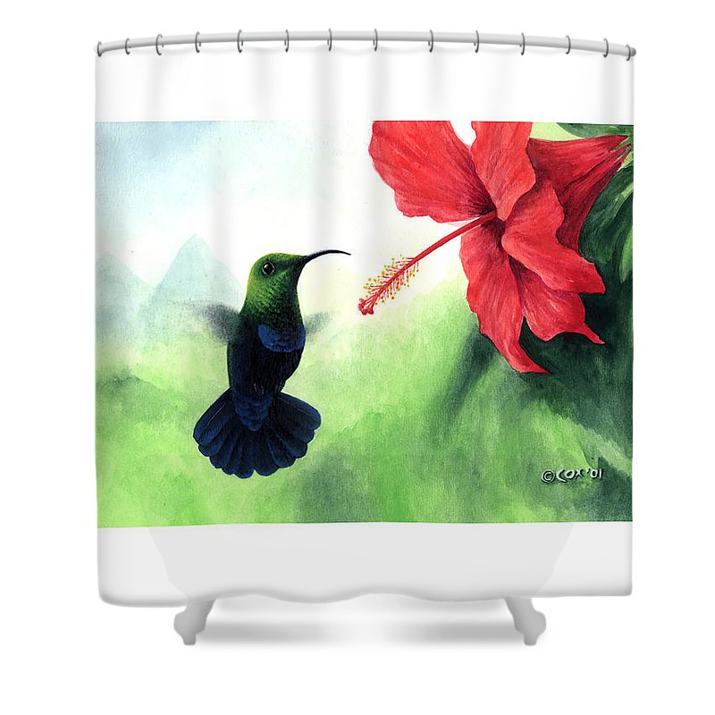 Chris Cox Shower Curtain featuring the painting Green-throated Carib Hummingbird And Red Hibiscus by Christopher Cox