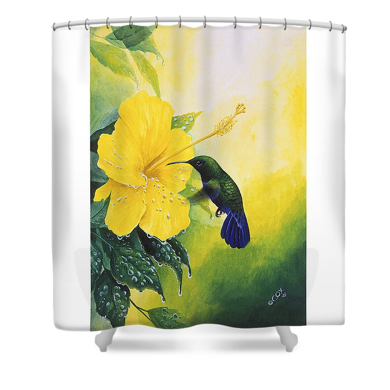 Chris Cox Shower Curtain featuring the painting Green-throated Carib Hummingbird And Yellow Hibiscus by Christopher Cox