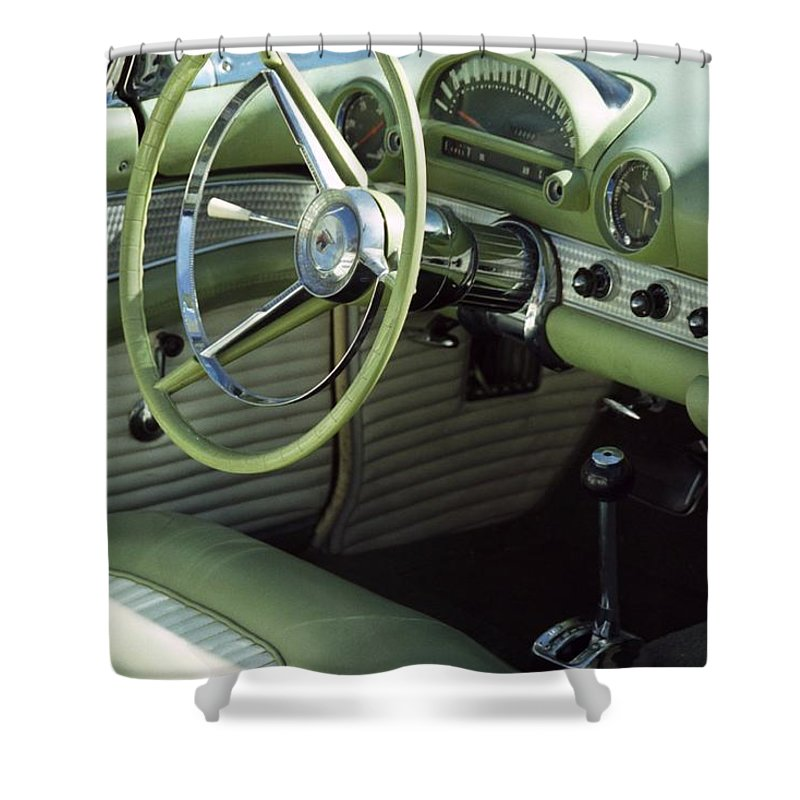 Photography Shower Curtain featuring the photograph Green Thunderbird Wheel And Front Seat by Heather Kirk