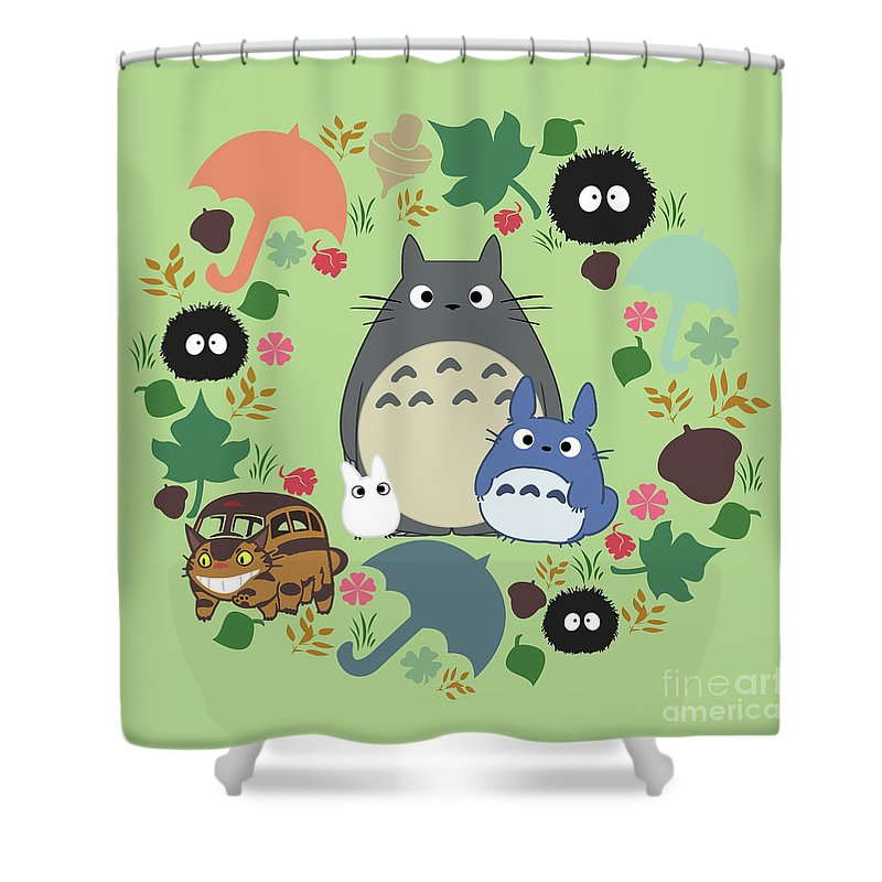 My Neighbor Totoro Shower Curtain Featuring The Digital Art Green Wreath By Canis Picta