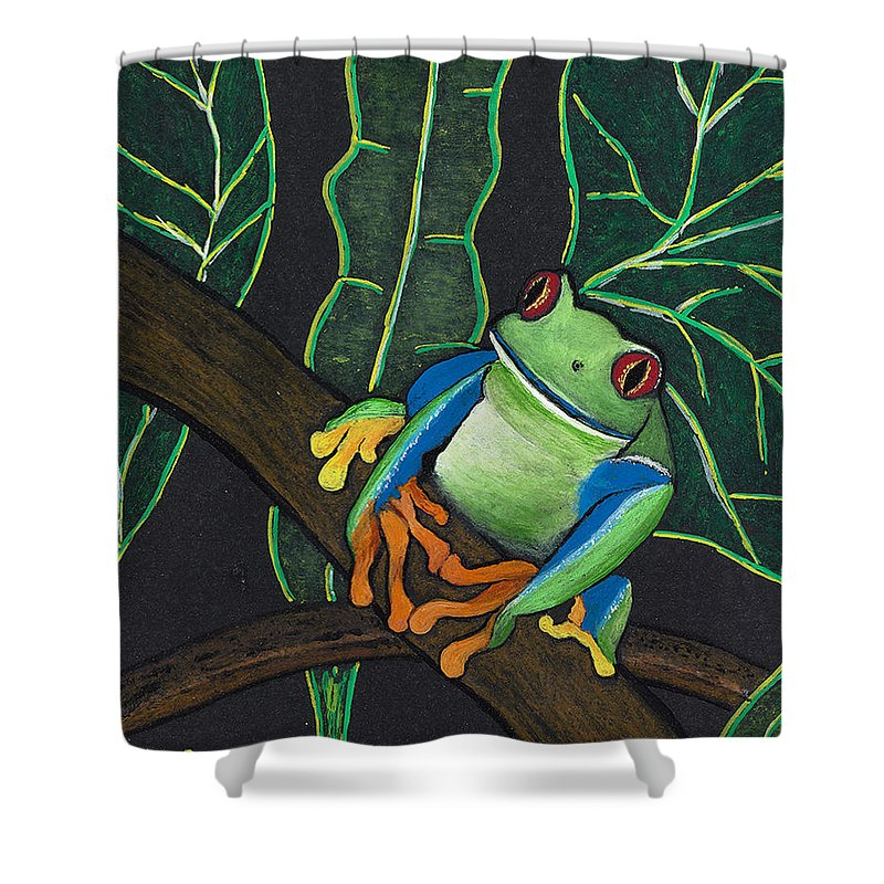 Frog Shower Curtain featuring the painting Green Tree Frog by Luke Walker