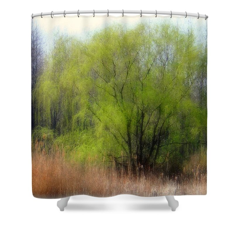 Scenic Art Shower Curtain featuring the photograph Green Tree by Linda Sannuti