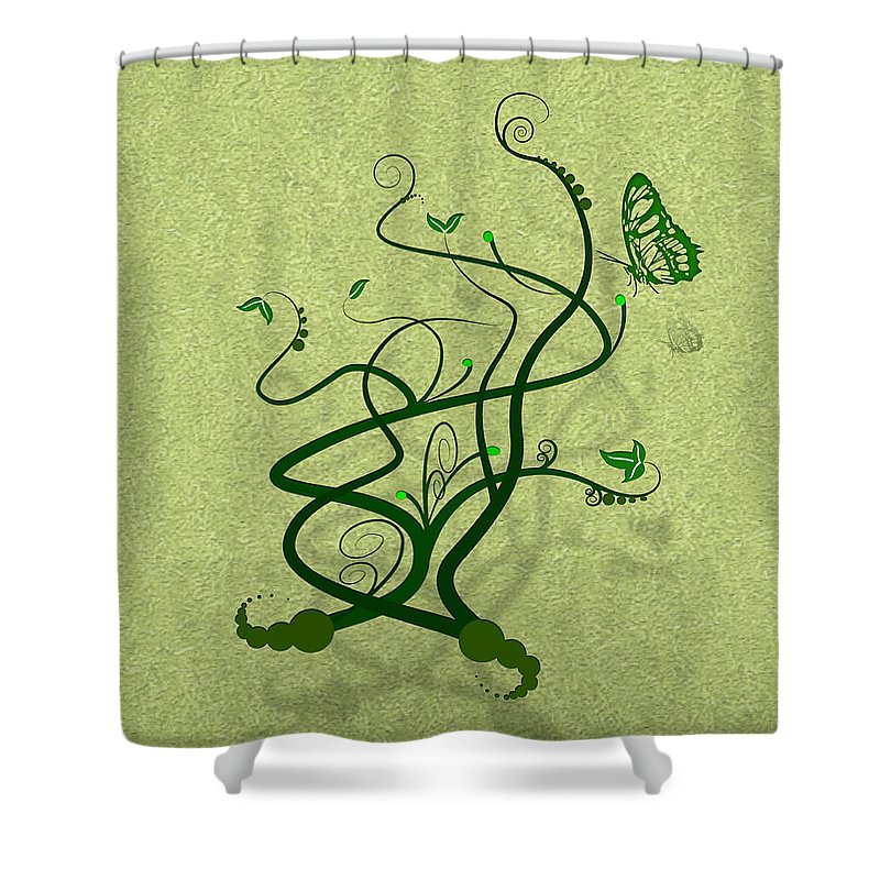 Vine Shower Curtain featuring the digital art Green Vine And Butterfly by Svetlana Sewell