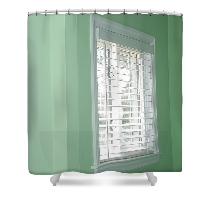 Architecture Shower Curtain featuring the photograph Green Wall White Window by Rob Hans