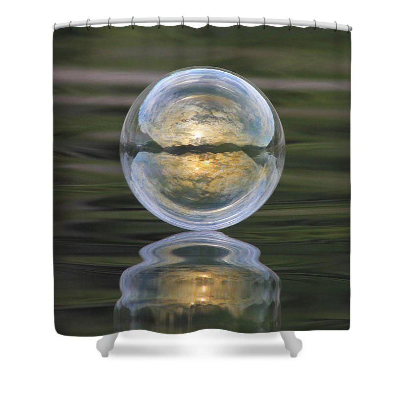 Green Shower Curtain featuring the photograph Green Waters And Cloudy Skies by Cathie Douglas