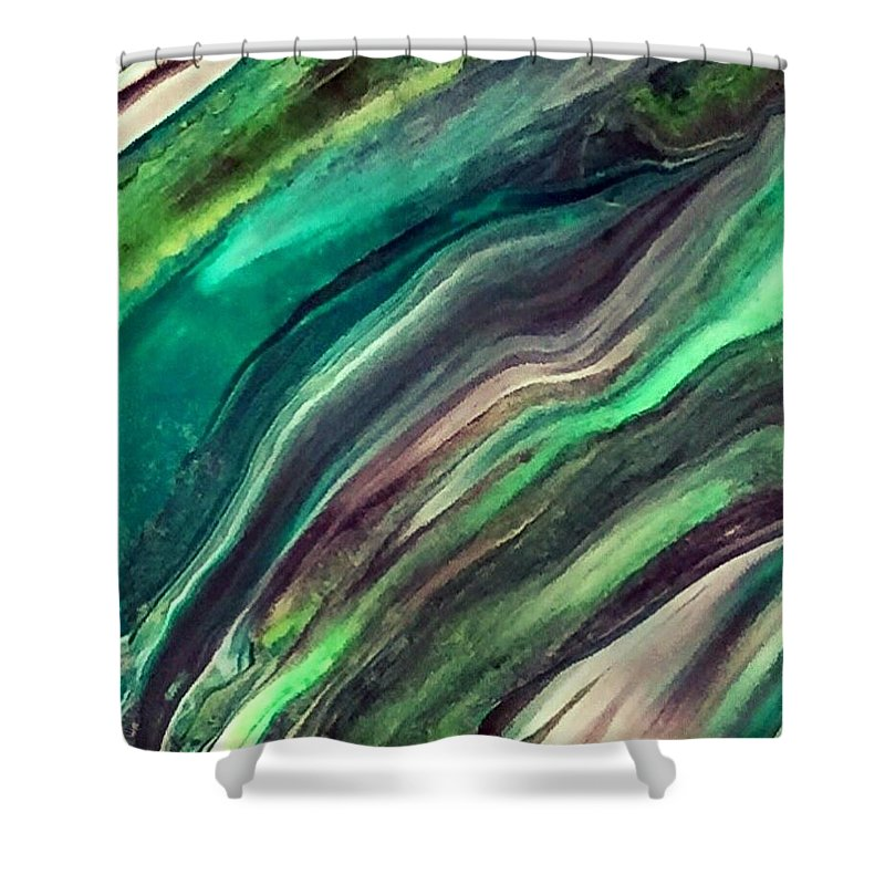 Abstract Art Shower Curtain featuring the painting Green Waves by Dawn Sawyers