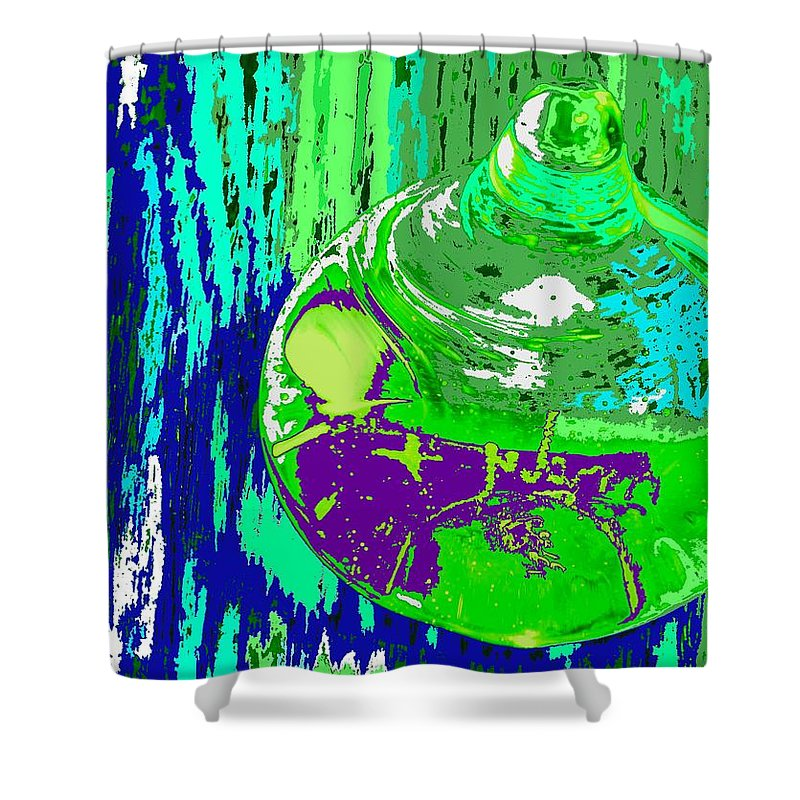 Abstract Shower Curtain featuring the photograph Green Whirl by Ian MacDonald