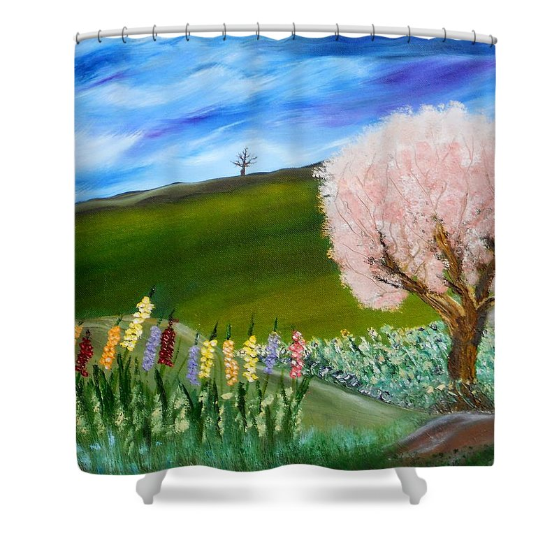 Landscape Shower Curtain featuring the painting Greener Pastures by David King Johnson
