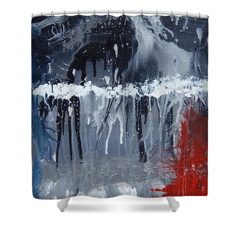 Abstract Shower Curtain featuring the painting Greenhouse Effect On The Arctic Circle by Max Bowermeister