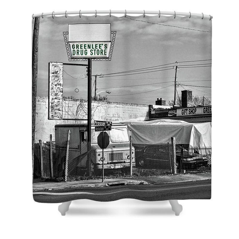 Knoxville Shower Curtain featuring the photograph Greenlees Drug Store by Sharon Popek