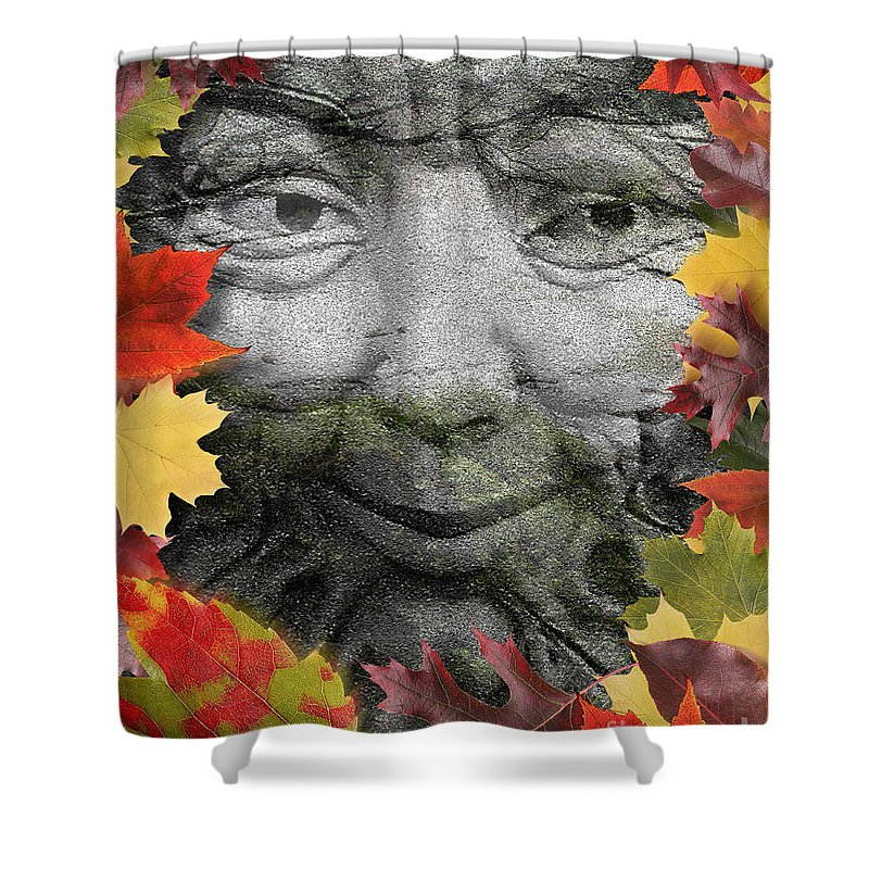 Digital Art Shower Curtain featuring the digital art Greenman by Keith Dillon