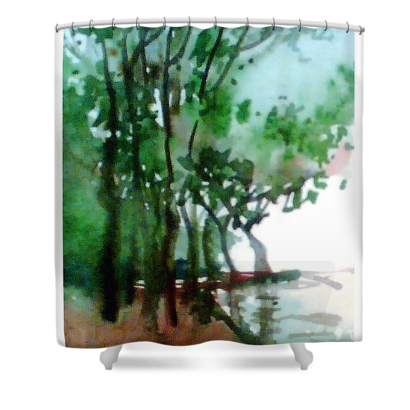 Water Color Shower Curtain featuring the painting Greens by Anil Nene