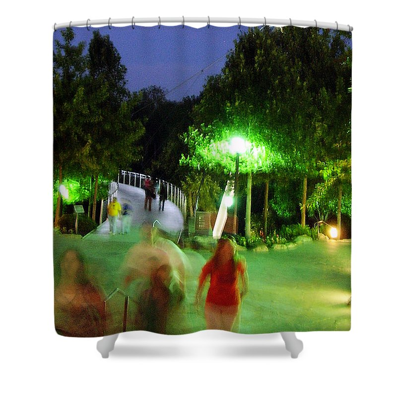Falls Park Shower Curtain featuring the photograph Greenville At Night by Flavia Westerwelle